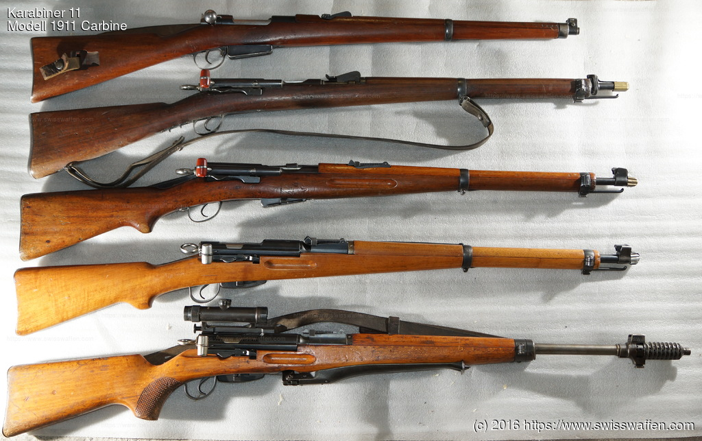Some common short Swiss rifles, from top: Modell 1893 Cavalry Carbine Modell 1897 Cadet Rifle Modell 1911 Carbine / Modell 00/11 Carbine Modell 1931 Carbine Modell 1955 Sniper Carbine