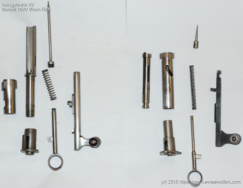 Left: Disassembled bolt for Modell 1897 Cadet Rifle, Infanteriegewehre 89/96, 96/11, 11 and Karabiner/Kurzgewehre 00, 05, 00/11, 11 Right: Disassembled bolt for Modell 1931 Carbine, Modell 1931/42 Sniper Carbine and Modell 1931/43 Sniper Carbine