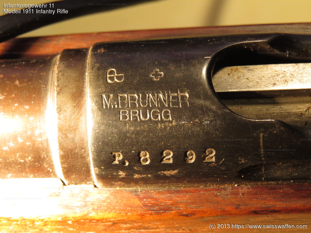 "Private series (not privatized!) Infanteriegewehr (""Langgewehr"") 11. Smaller serial number with preceding P. The rifle has been sold by the gunstore M. Brunner from Brugg AG."